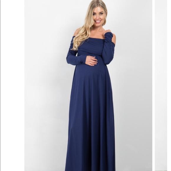 bf16d746ebfe5 Pinkblush Dresses | Maternity Off Shoulder Long Sleeve Navy Maxi ...